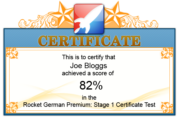 Rocket German Premium Certificate