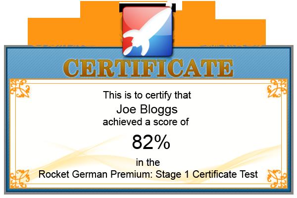 Rocket German Premium Certificate